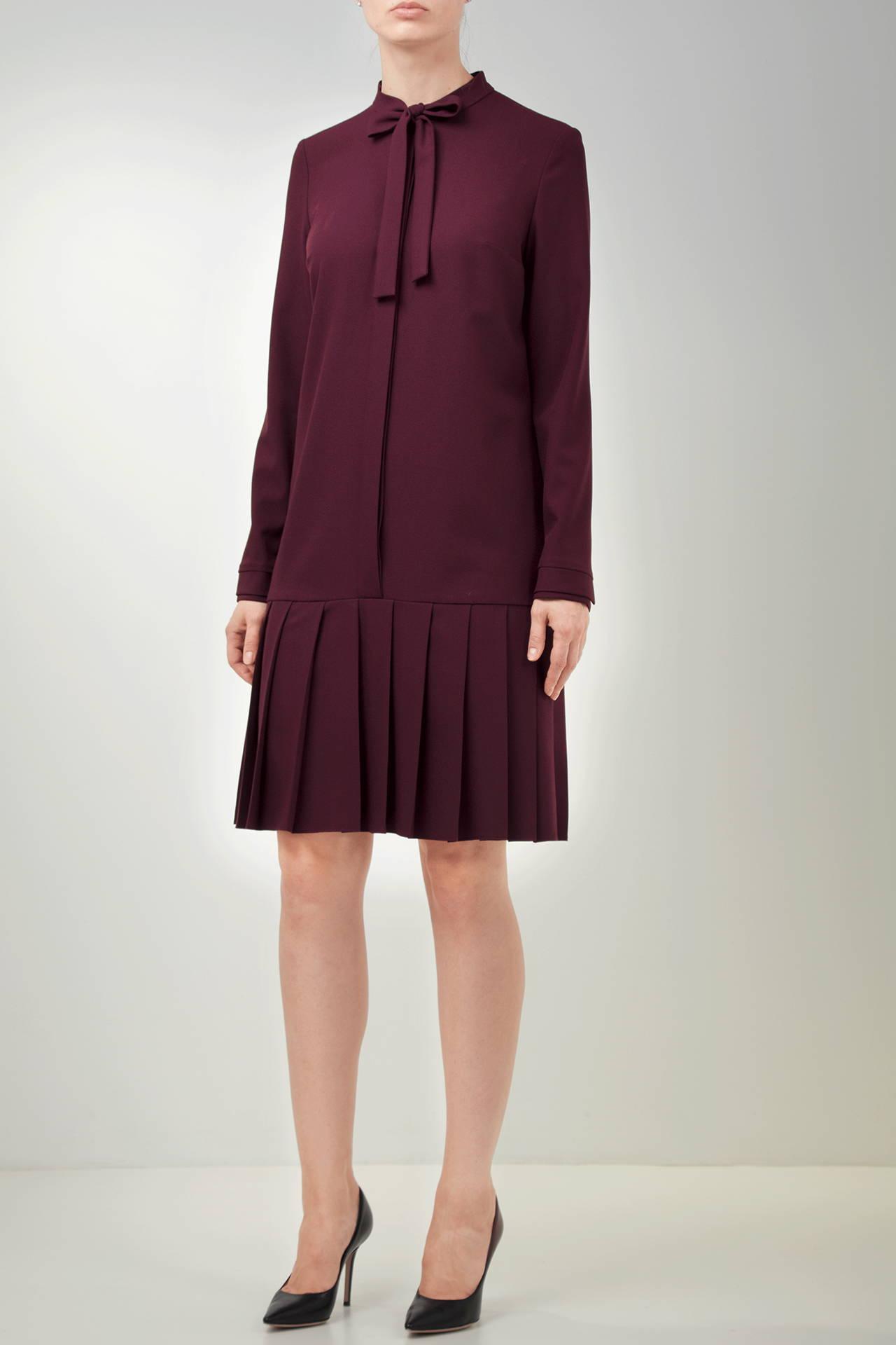PLEATED BURGUNDY VISCOSE-BLEND CREPE DRESS
