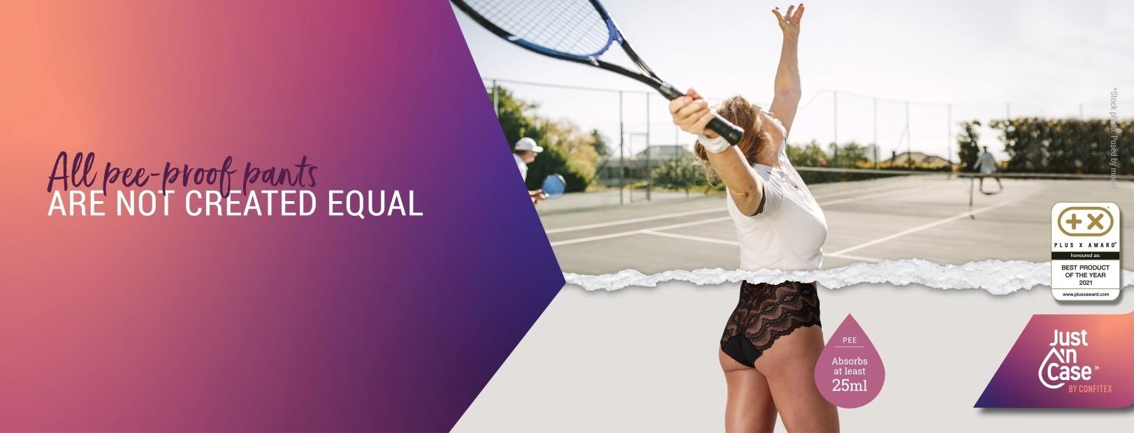 tennis woman wearing Just'nCase everyday absorbent pee-proof panties