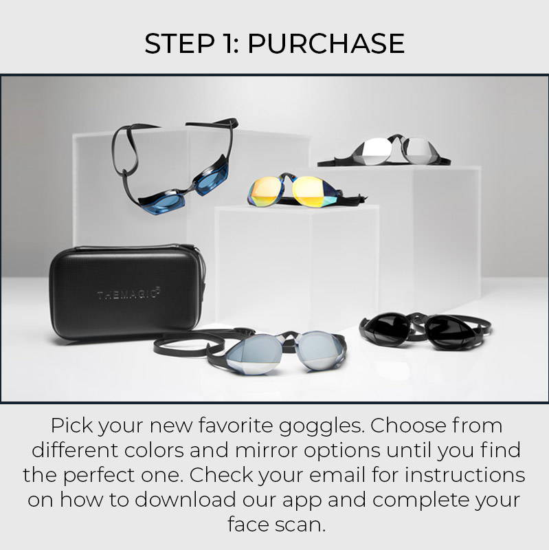 Step 1: Purchase. Pick your new favorite goggles. Choose from differetn colors and mirror options until you find the perfect one. Check your email for instructions on how to download our app and complete your face scan.