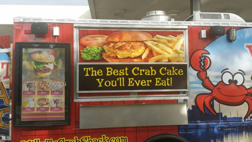 Crab Shack food truck menu board outdoor digital display enclosure The Display Shield