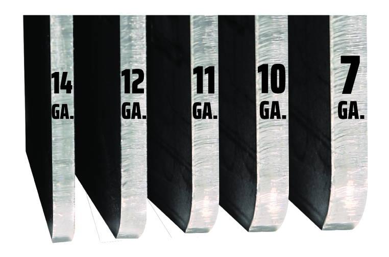 Picture of steel gauge thickness from 14 gauge to 7 gauge