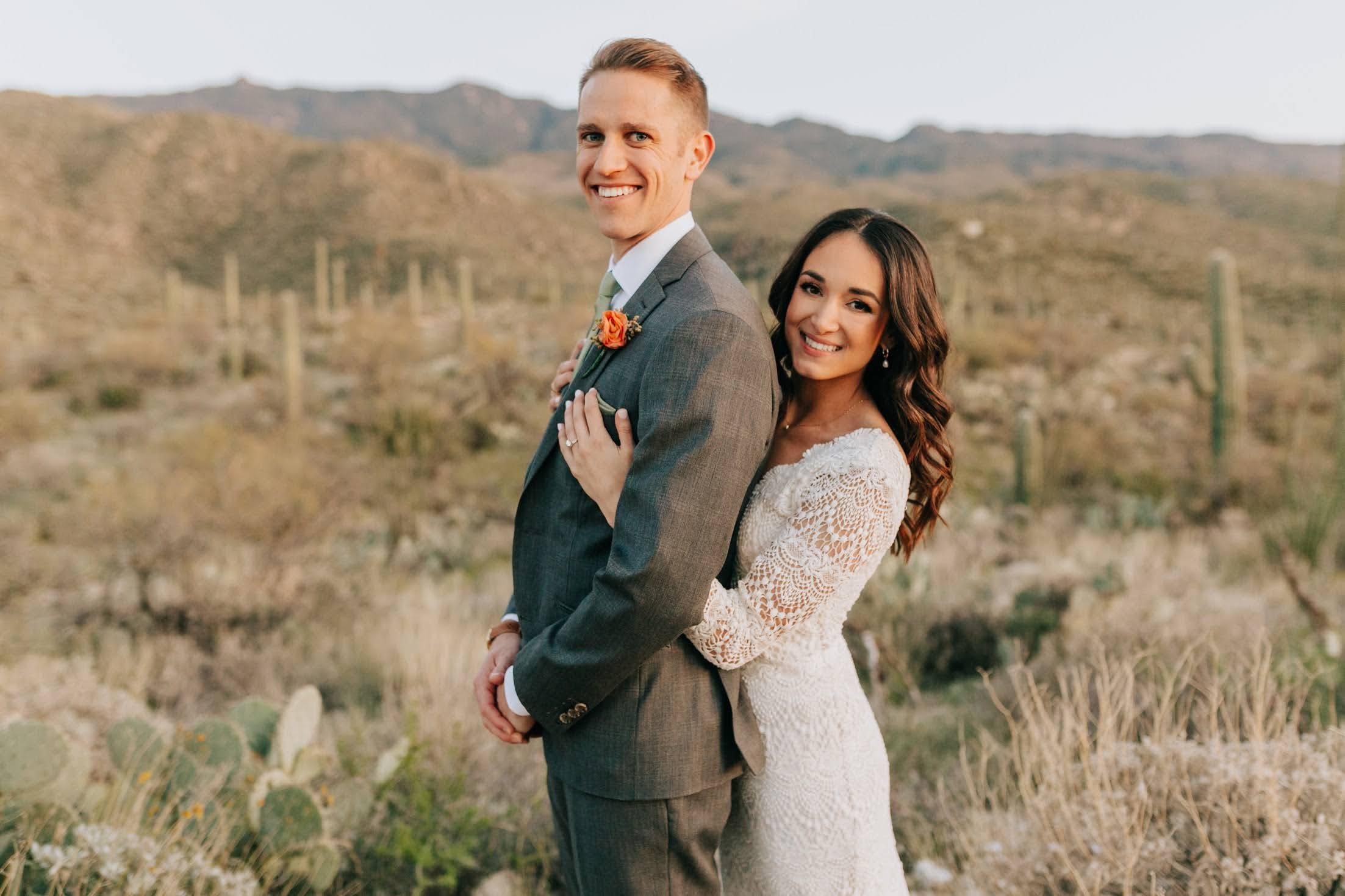 wedding couple white dress