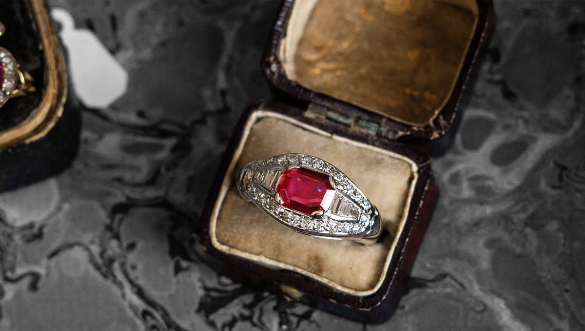 Mid Century, Burmese Ruby and Diamond Cluster Ring
