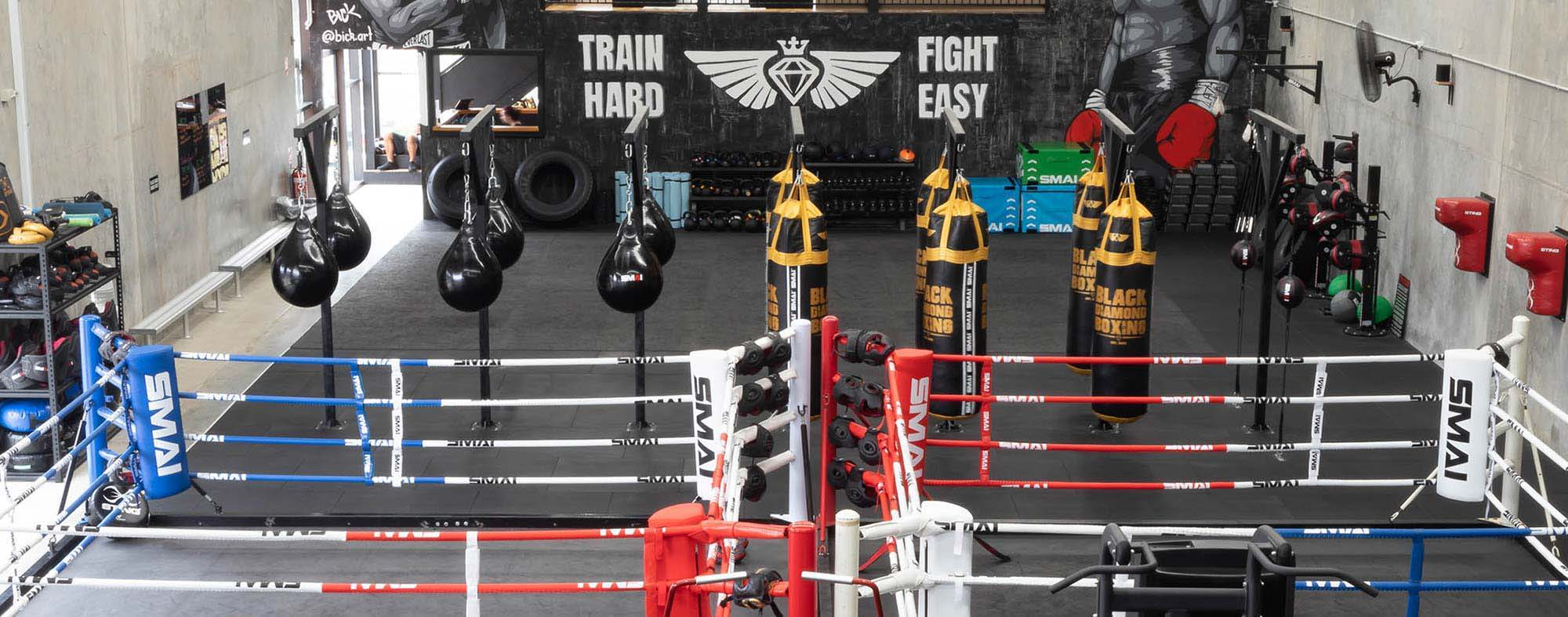boxing gym SMAI boxing ring punching bags black diamond