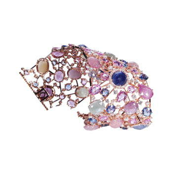 flexible pink and blue gem wrist cuff