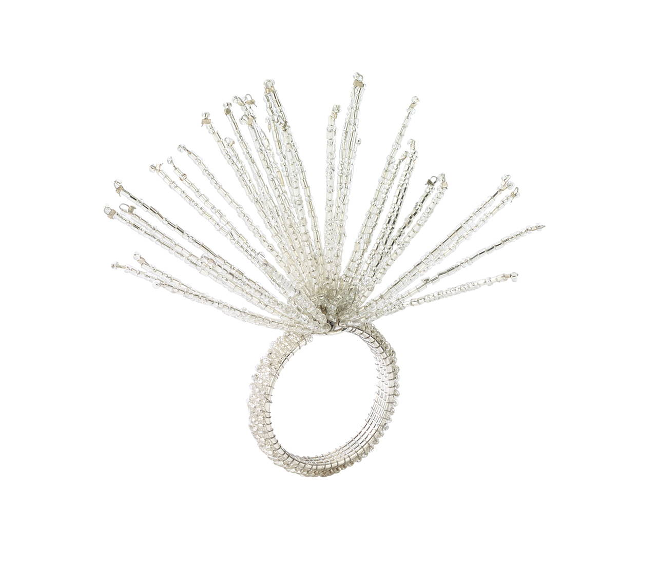 SPIDER BEAD BURST NAPKIN RING IN CRYSTAL & SILVER