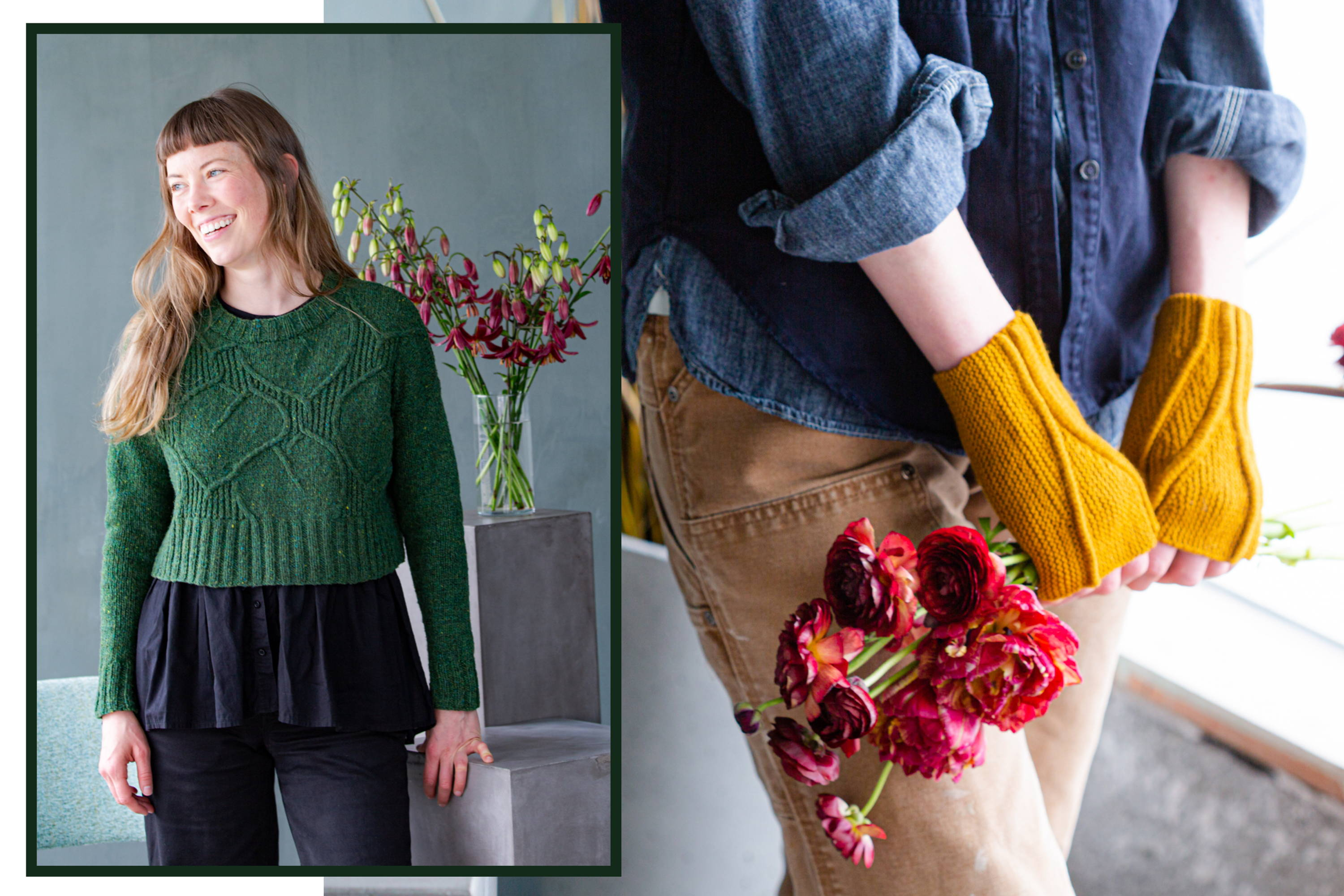 Two images of Alyssa modeling Broadleaf and Limn mitts