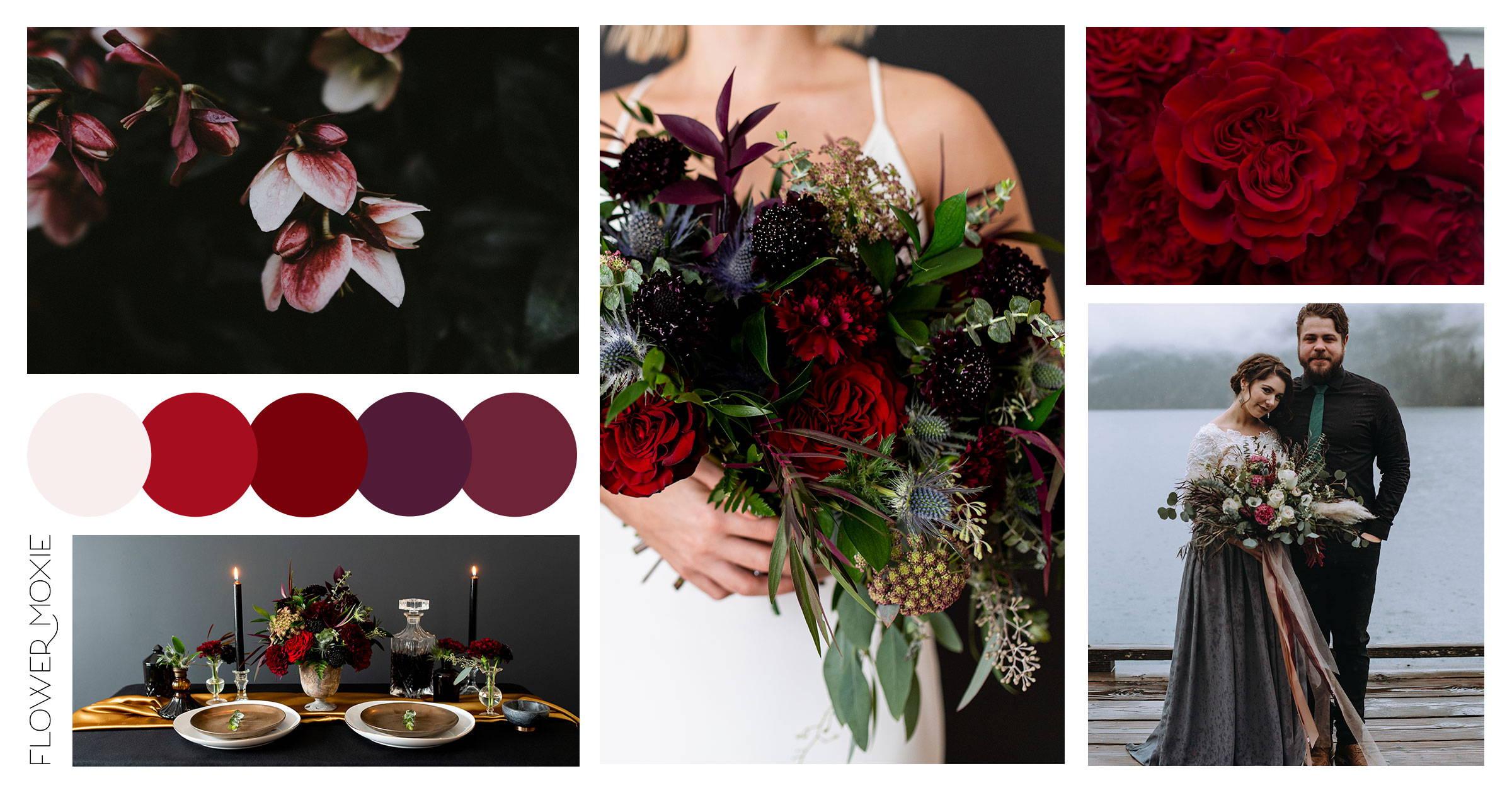 moody scarlet diy wedding flower package