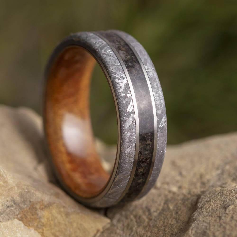 Meteorite and Dinosaur Bone Ring with Wood Sleeve