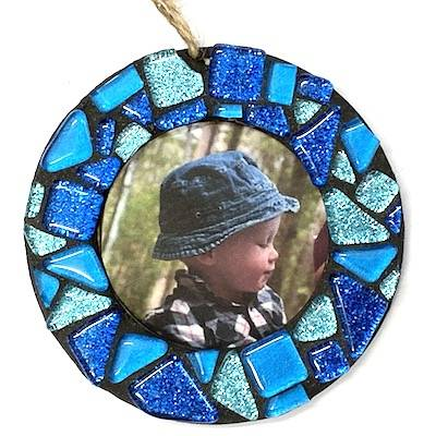 blue glitter Christmas decoration