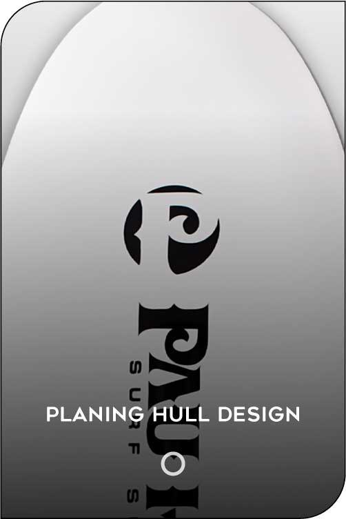 Paddle board planing hull design feature