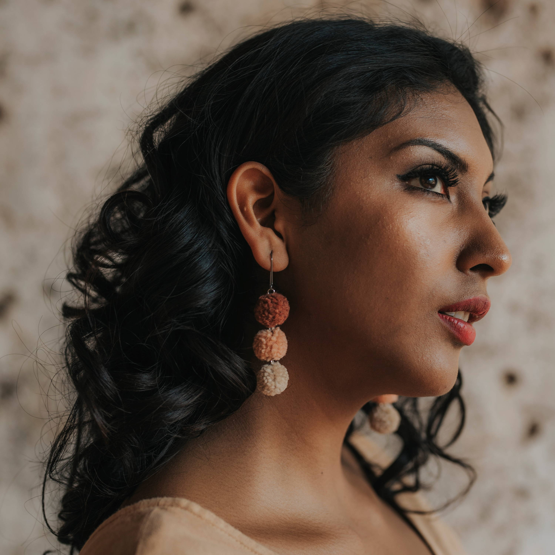 Ombre Rose Pom Earrings
