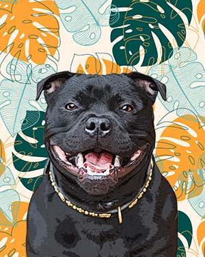 pitbull on leaves background