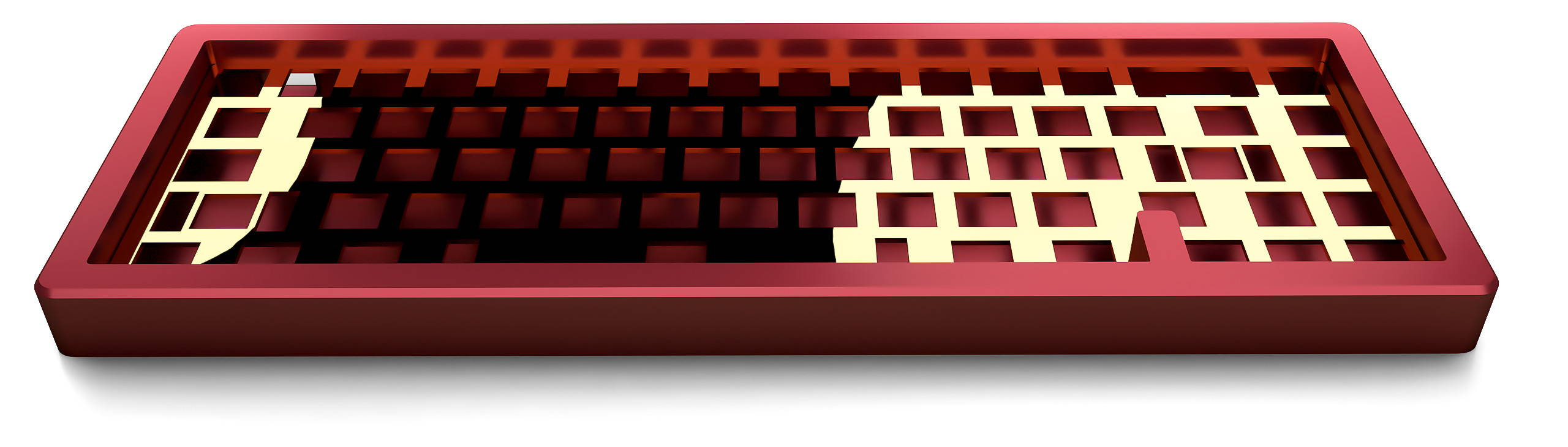 Pizza65 Aluminum Keyboard Case in Pearl Ruby Red with brass ISO  plate
