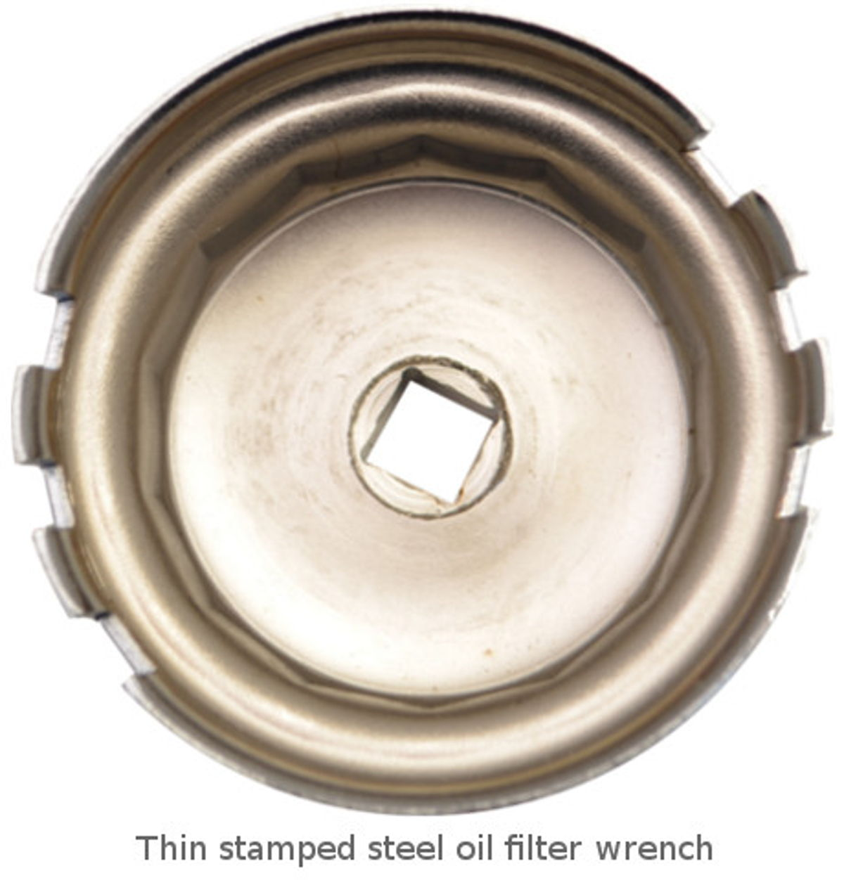 Example of a stamped steel oil filter wrench