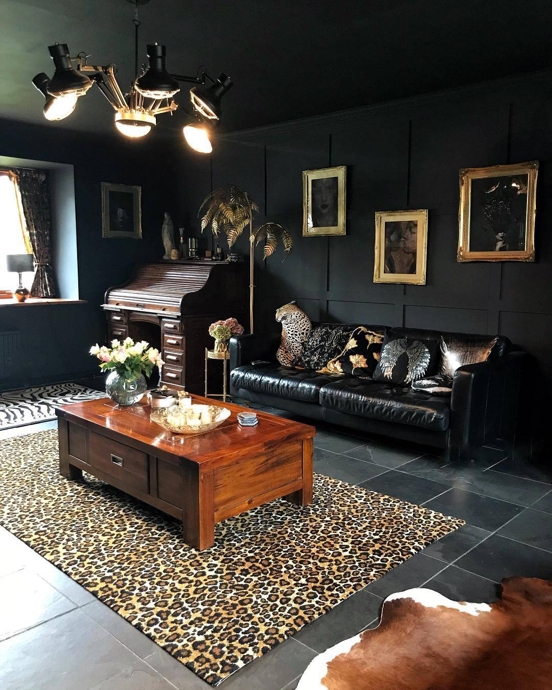 dark interior maximalist wall decor