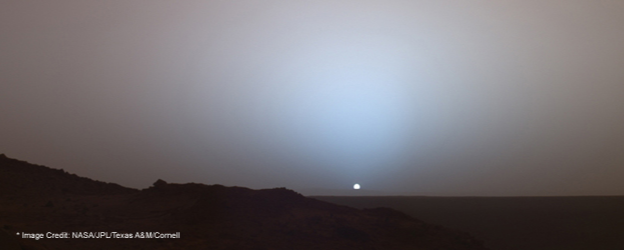 On May 19, 2005, NASA's Mars Exploration Rover Spirit captured this stunning view as the Sun sank below the rim of Gusev crater on Mars. This Panoramic Camera mosaic was taken around 6:07 in the evening of the rover's 489th Martian day, or sol. *Mars Image Credits: Sunset on Mars
