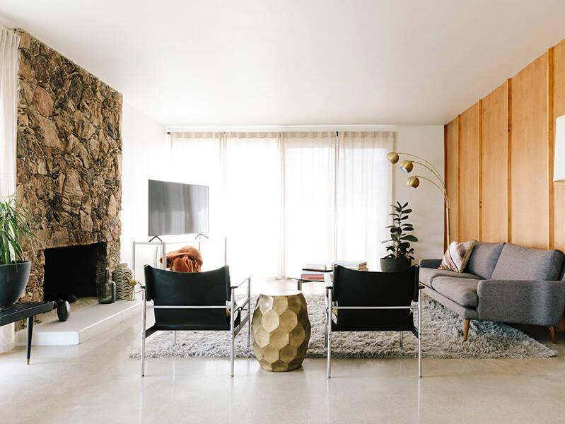 retro living room in palm springs.