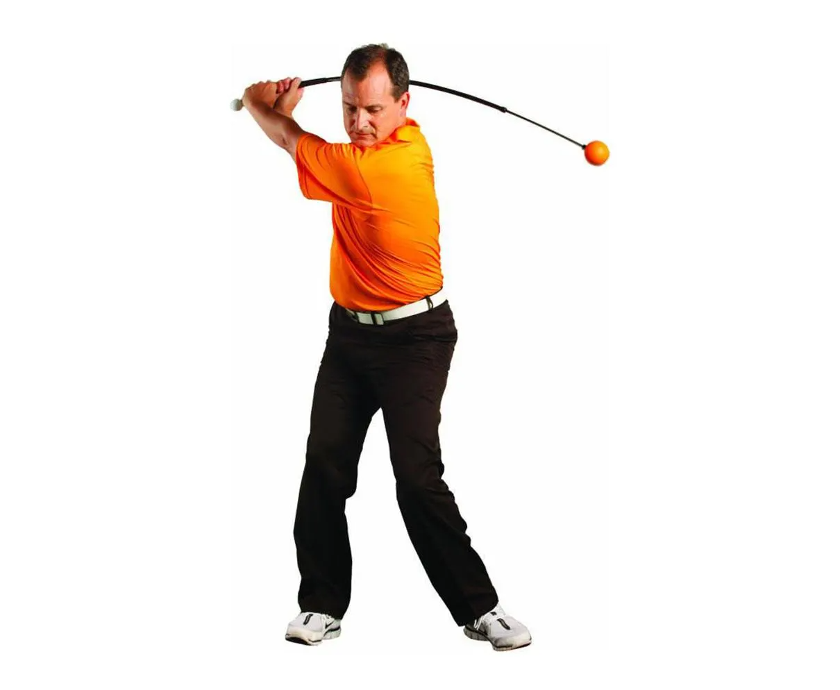 Golfer starting practice swing withe the Orange Whip trainer