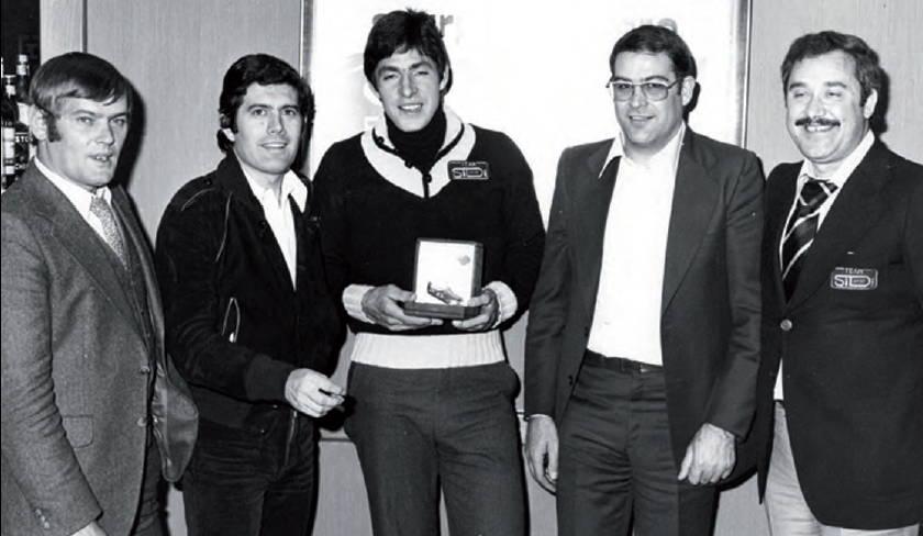 Joel Robert, Giacomo Agostini, cyclist Francesco Moser, Dino Signori (SIDI Founder), Rudy Barbazza (Rudy Project founder).
