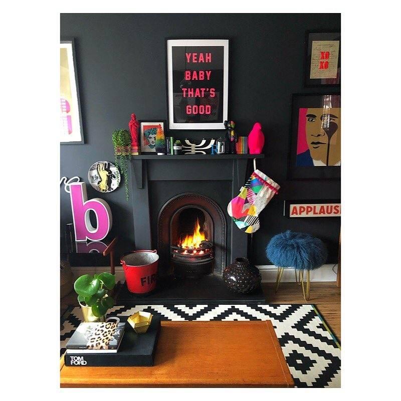 dark interiors fireplace decor