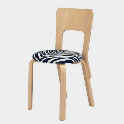 Artek Chair 66 with Zebra Fabric