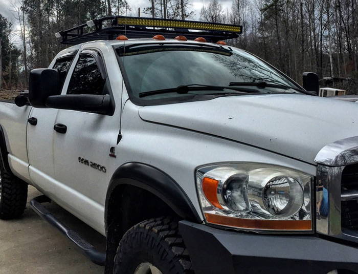 Dodge Ram with Yellow Lamin-x LED light bar film