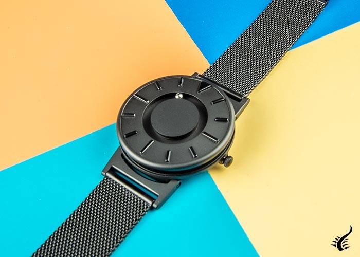 Eone Bradley Mesh Quartz Watch, Ronda 502, 40 mm, Black, Steel bracelet, BR-BLK
