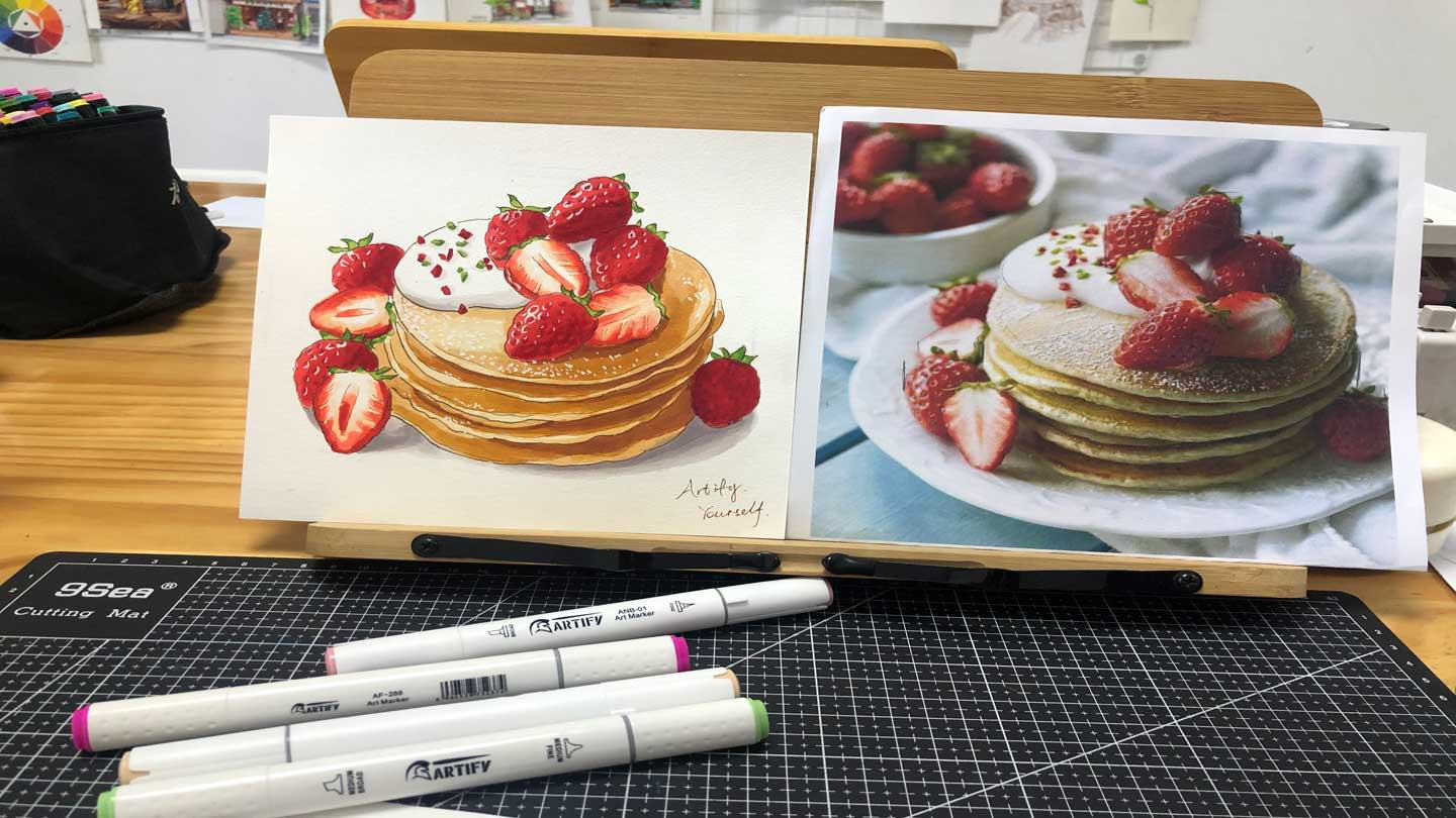 how to draw pancake with markers