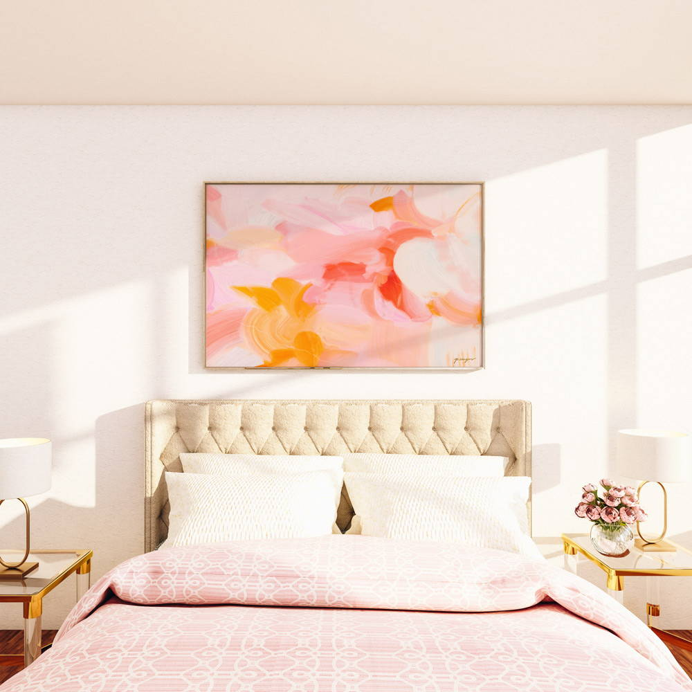Oversized pink and yellow abstract wall art for over the bed via Parima Studio