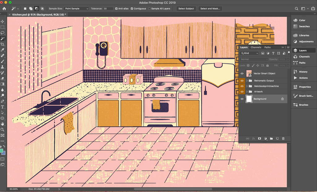 Keep a Smart Object of Illustrator illustrations to help with paths, layer masks, color and texture.