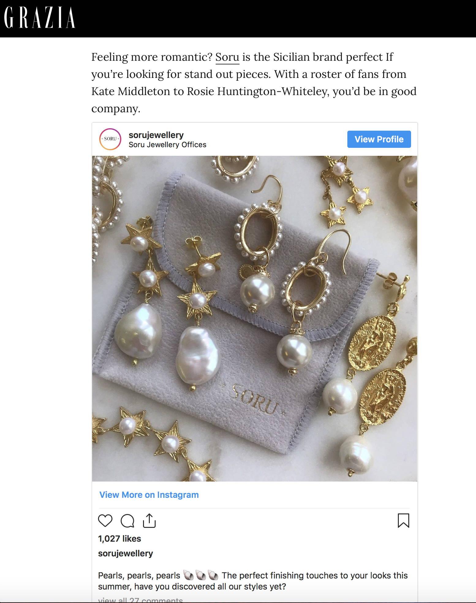 SORU JEWELLERY PEARL AND GOLD EARRINGS