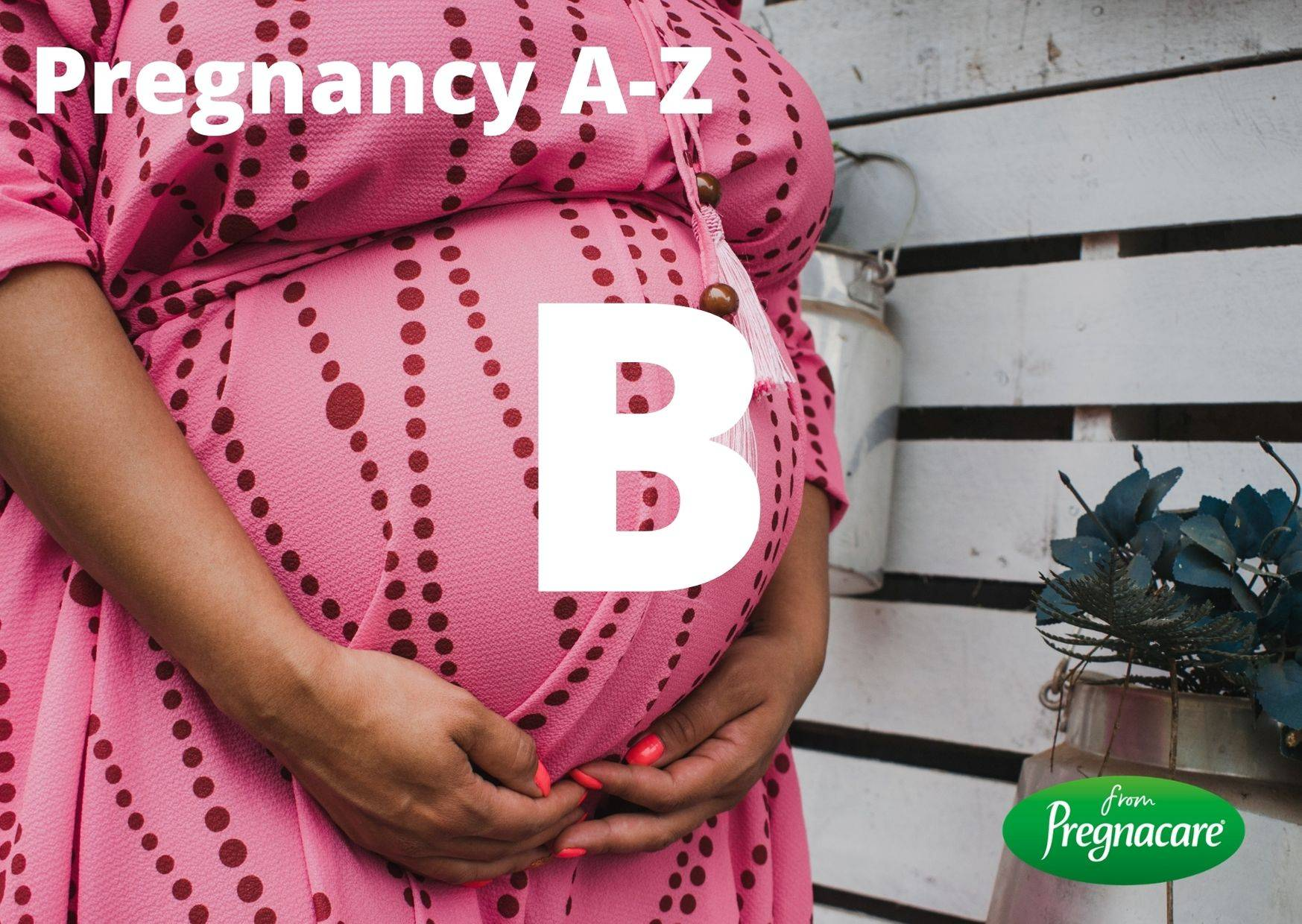 Letter B With Pregnant Woman Background