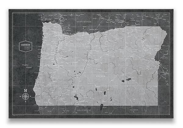Oregon Push pin travel map modern slate