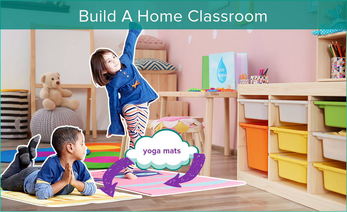 Kids using yoga mats in home space