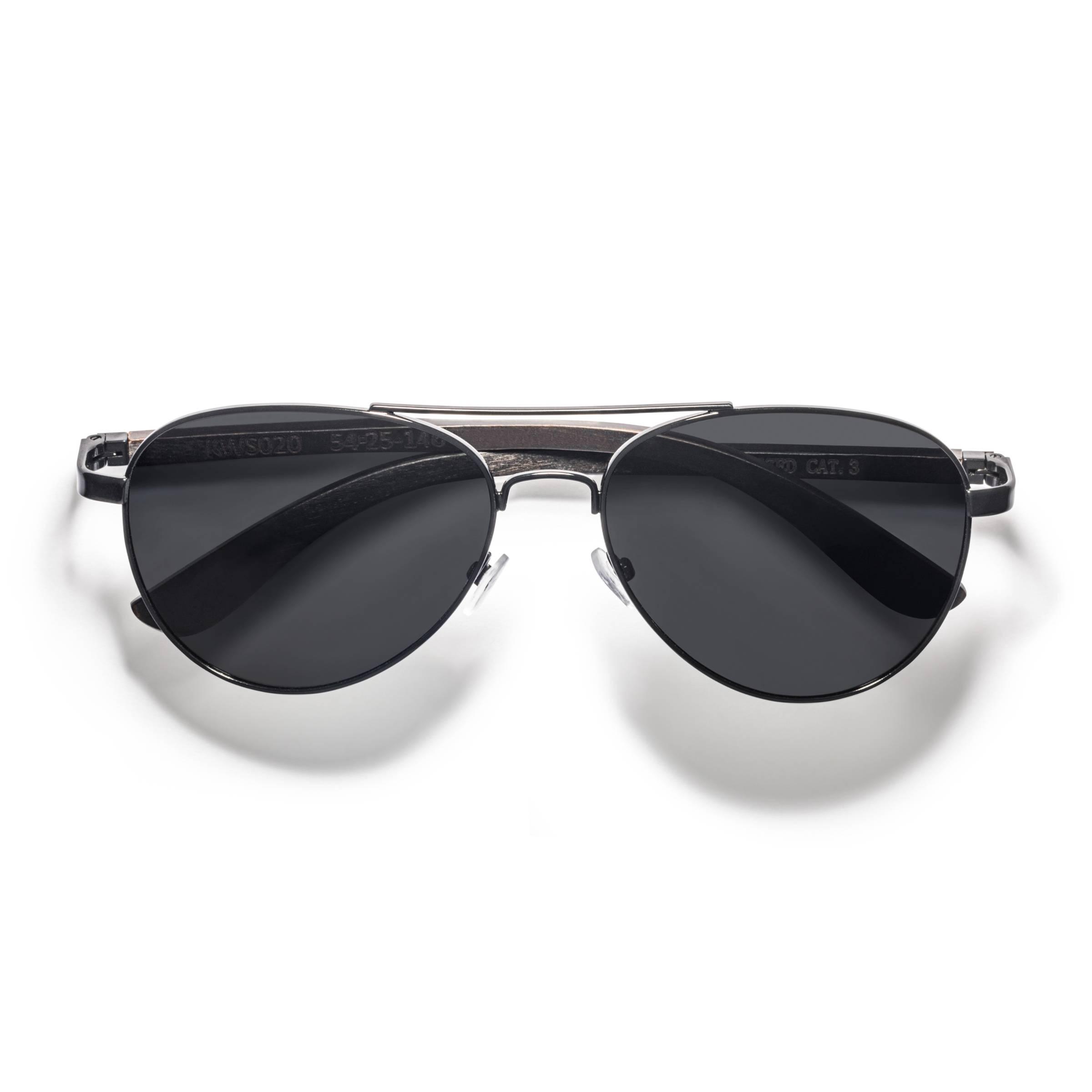 Kraywoods Leo, Aviator sunglasses made from ebony wood with polarized dark lenses