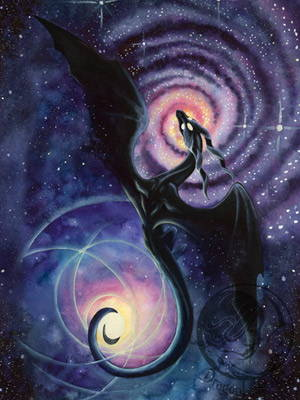 Black dragon with a spiral galaxy and a star
