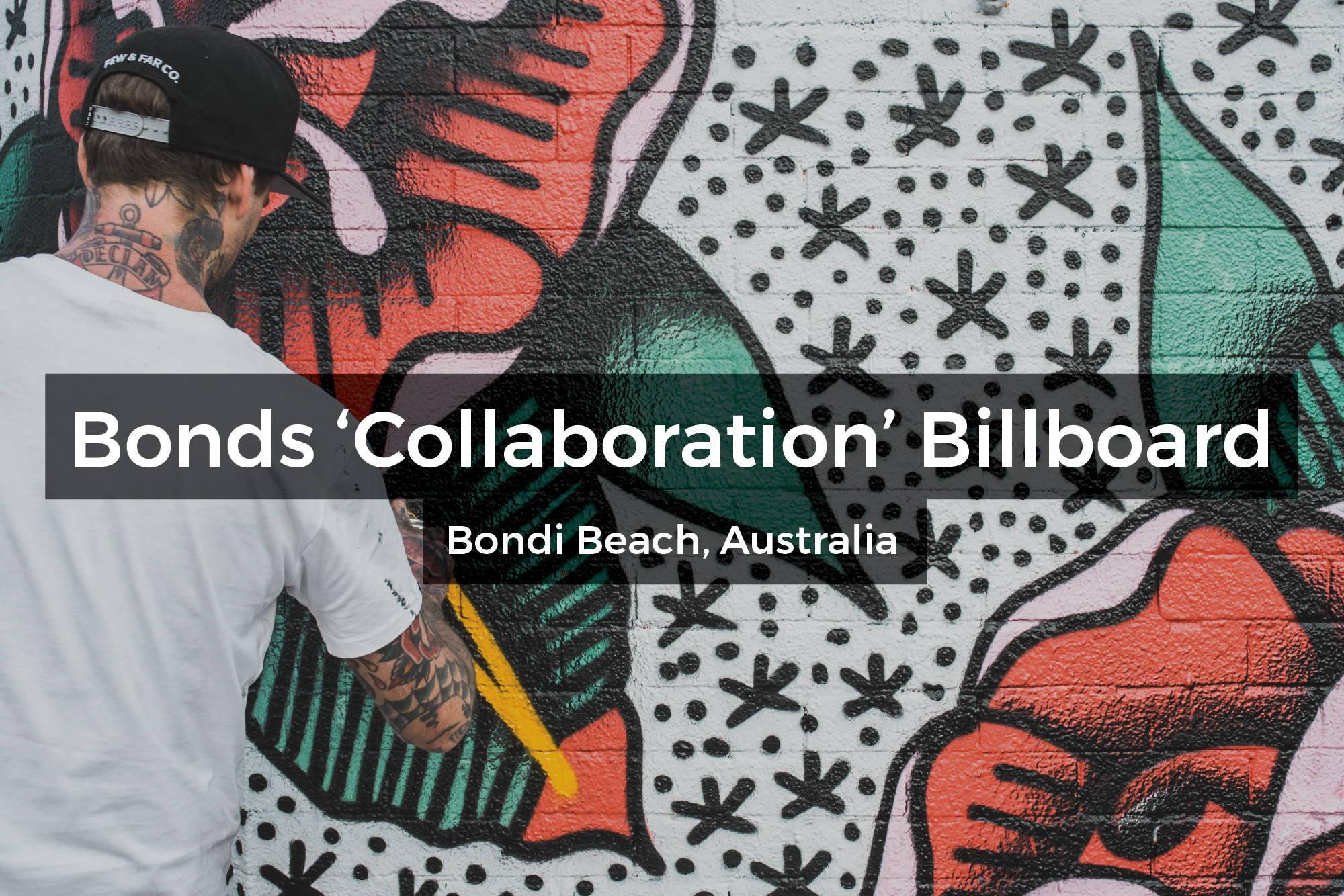 Bonds Collaboration launch mural in Bondi Beach, Australia by Steen Jones