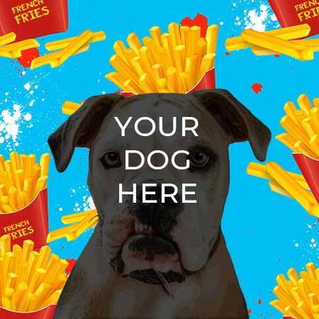 pop your pup pop art example on french fry background