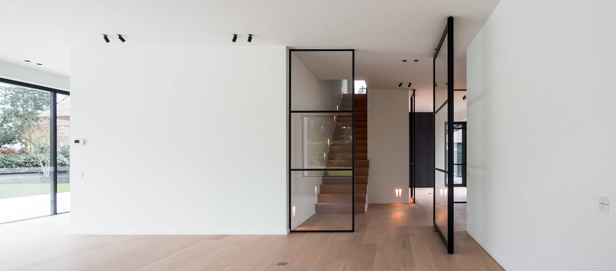 Glass pivot door with fixed partition
