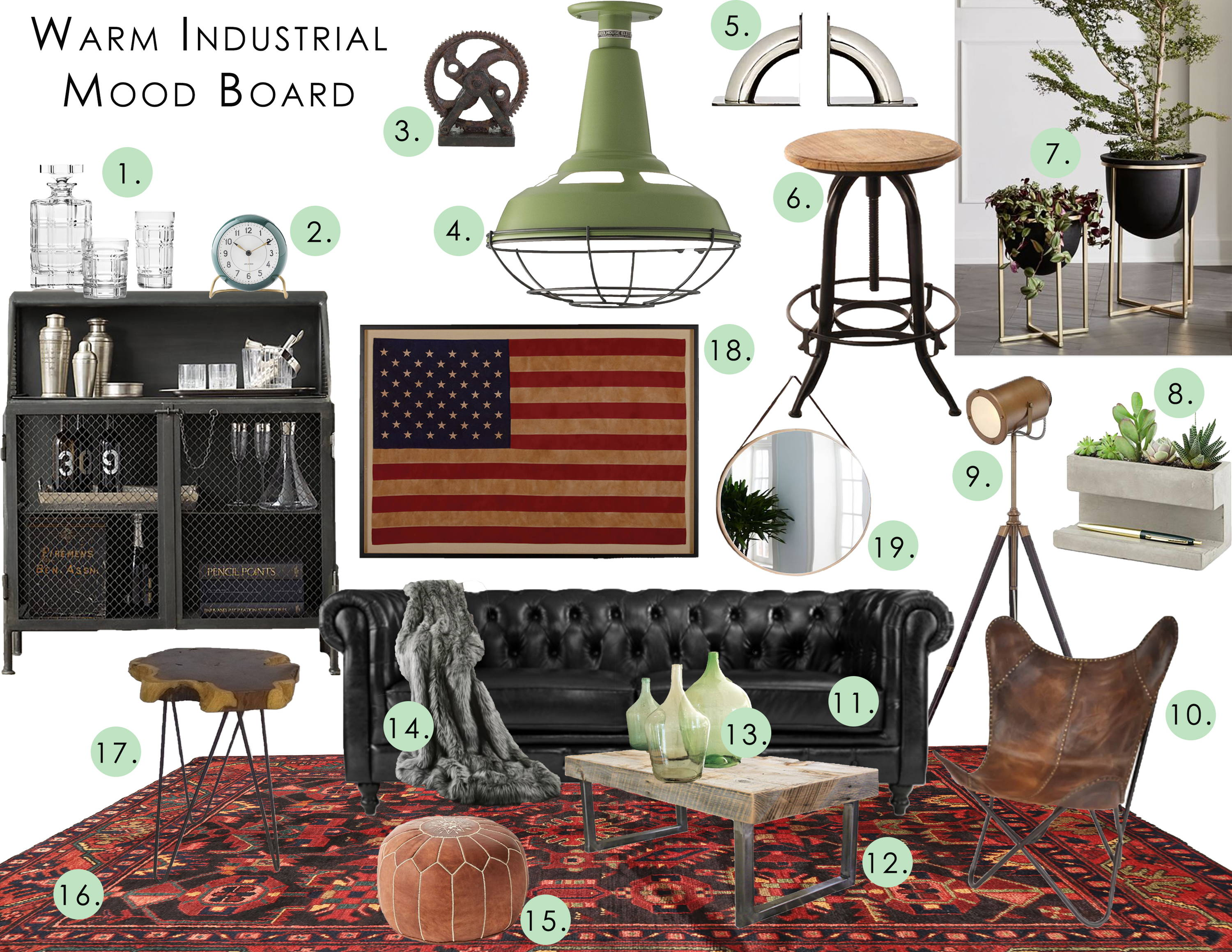 furniture and home decor in the warm industrial design style