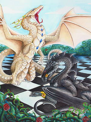 White queen dragon overtaking the Black king dragon on a chess board