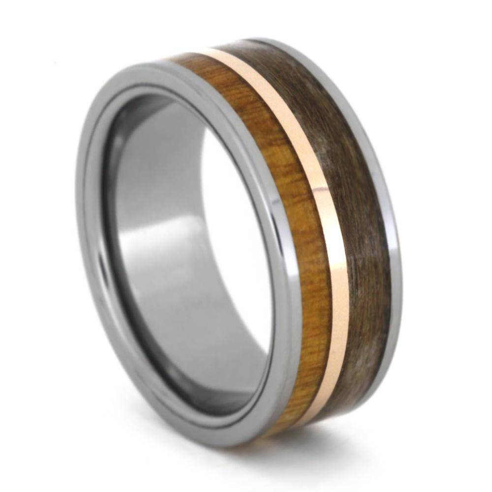 Tungsten Ring with Wood and Pet Fur