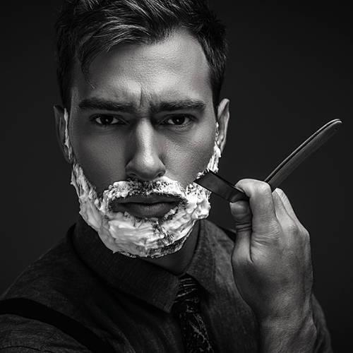 Shaving using Straight Razor in Thick Lather