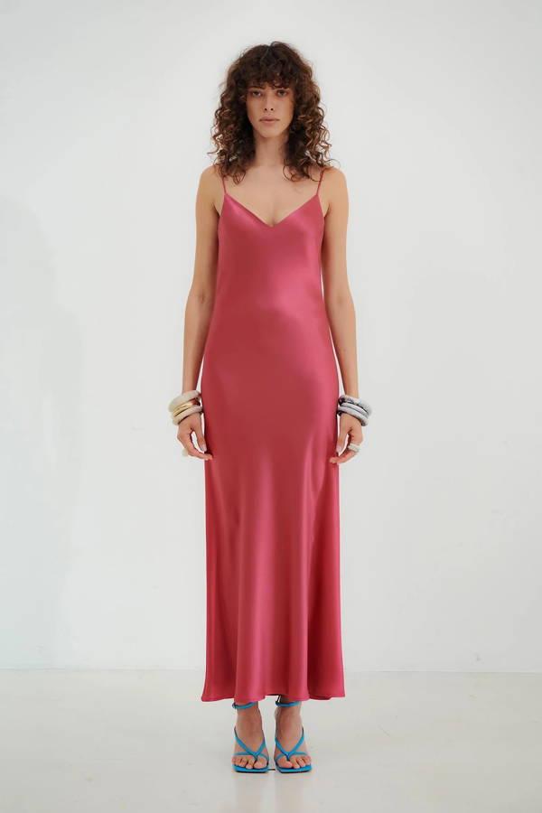 Galvan London V-Neck Cropped Pink Slip Dress