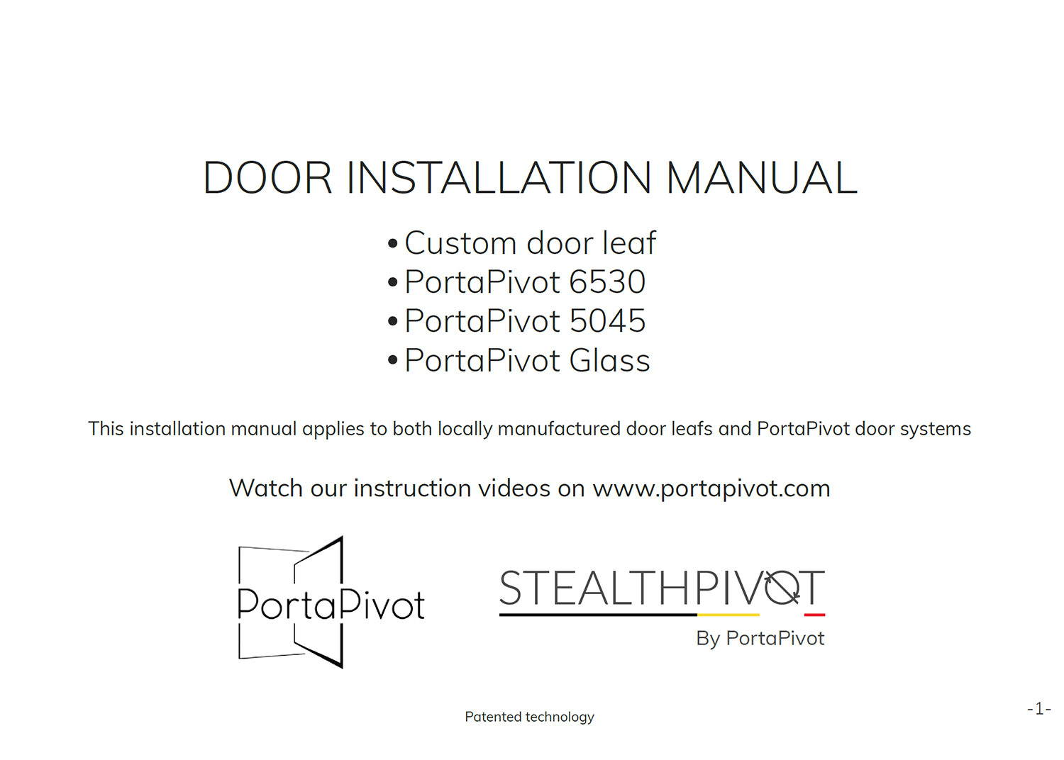 pivot door installation manual