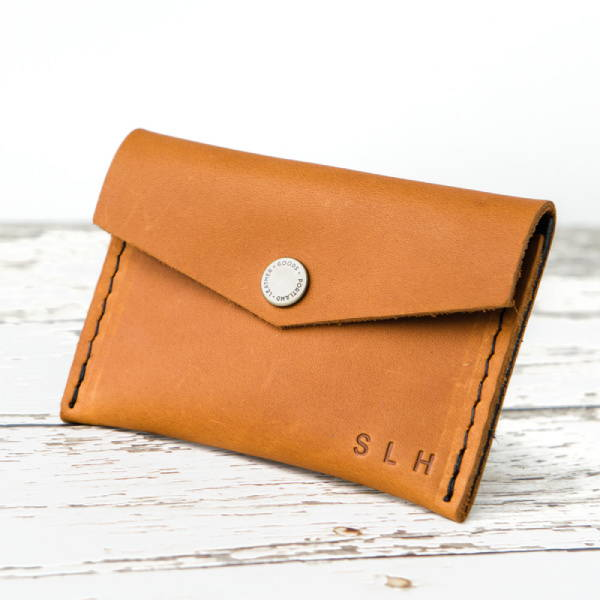 Leather mini envelope snap wallet