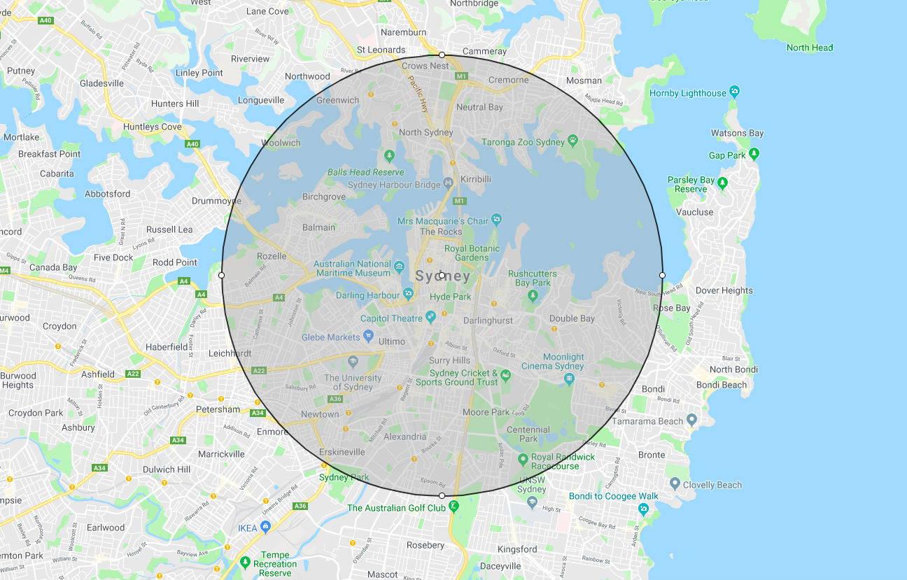 Sydney 5km radius