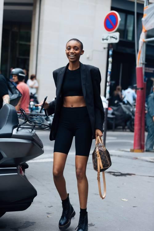 How to style bike shorts black