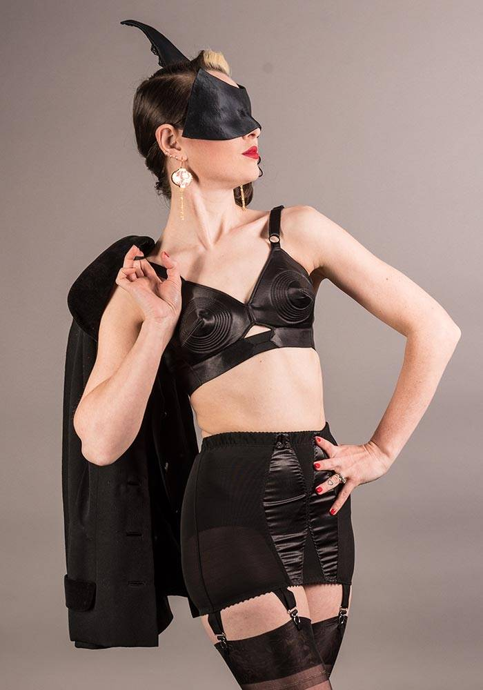 dramatic 1950s black satin fetish inspired lingerie